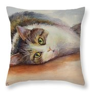 Kitty With Spilled Milk Throw Pillow