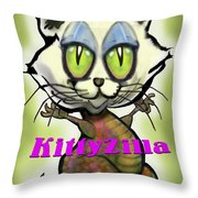 Kittyzilla Throw Pillow