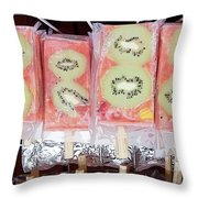 Kiwi Pops Throw Pillow by Glennis Siverson