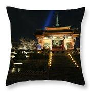 Kiyomizu-dera At Night Throw Pillow
