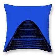 Kk100 Shenzhen Skyscraper Art Blue Throw Pillow