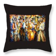 Klezmer Cats - Palette Knife Oil Painting On Canvas By Leonid Afremov Throw Pillow