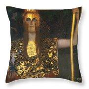 Klimt - Pallas Athena 1898 Throw Pillow