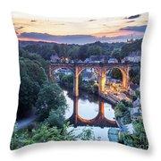 Knaresborough Viaduct Floodlit At Dusk Throw Pillow