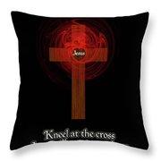Kneel At The Cross Throw Pillow