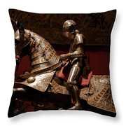 Knight And Horse In Armor Throw Pillow