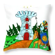 Brave Knight-errant And His Funny Wise Horse Throw Pillow