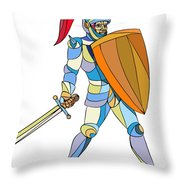 Knight Full Armor With Sword Defending Mosaic Throw Pillow