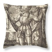 Knight In Armour With Bread And Wine Throw Pillow