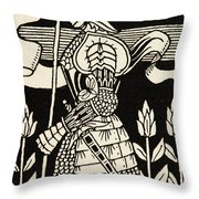 Knight Of Arthur, Preparing To Go Into Battle, Illustration From Le Morte D'arthur By Thomas Malory Throw Pillow