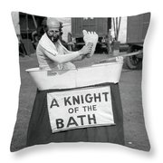 Knight Of The Bath Throw Pillow