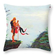 Knight On A Cliff Throw Pillow