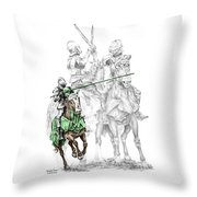 Knight Time - Renaissance Medieval Print Color Tinted Throw Pillow