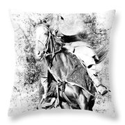 Knight With His Horse Throw Pillow