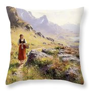 Knitting In A Norwegian Landscape Throw Pillow