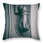 Knocking Hand Throw Pillow by Michael Colgate