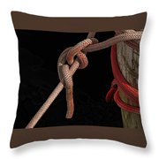Knot Me - Pink Mooring Ropes Throw Pillow