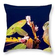 Knotweed On Deep Blue Throw Pillow