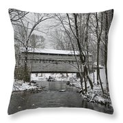 Knox Valley Forge Covered Bridge In Winter Throw Pillow