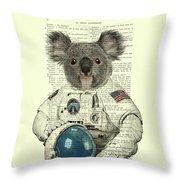 Koala In Space Illustration Throw Pillow