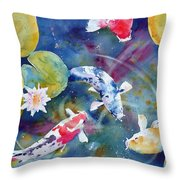 Koi And Waterlily Flower Throw Pillow