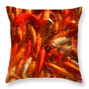 Koi Fishes In Feeding Frenzy Throw Pillow