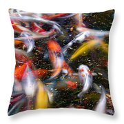 Koi Fish Pond Abstract Throw Pillow