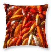 Koi Fishes In Feeding Frenzy Upward Throw Pillow