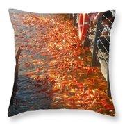 Koi Fishes In Feeding Frenzy Part Two Throw Pillow