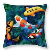 Koi Group Throw Pillow