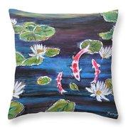 Koi In Lilly Pond Throw Pillow