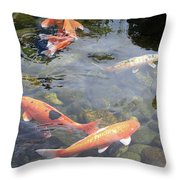 Koi In Pond II Throw Pillow