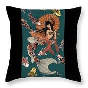 Koi Mermaid 2/4 Throw Pillow