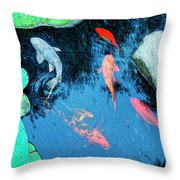 Koi Pond 1 Throw Pillow