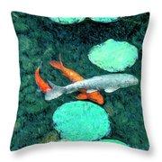 Koi Pond 3 Throw Pillow