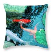 Koi Pond 4 Throw Pillow