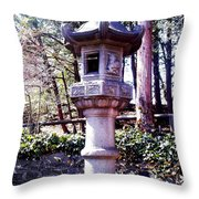 Koi Pond Statue Throw Pillow