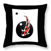 Koi Showa Circles Nishikoi Painting Throw Pillow