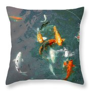 Koi Symphony 1 Stylized Throw Pillow