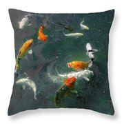 Koi Symphony 2 Stylized Throw Pillow