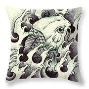 Koi Through The Water Throw Pillow