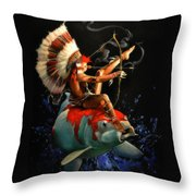 Koi Warrior Throw Pillow