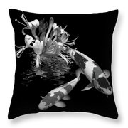 Koi With Honeysuckle Reflections In Black And White Throw Pillow