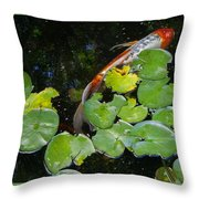 Koi With Lily Pads A Throw Pillow