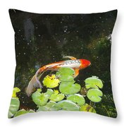 Koi With Lily Pads B Throw Pillow