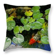 Koi With Lily Pads D Throw Pillow