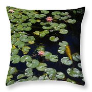 Koi With Lily Pads E Throw Pillow