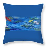 Koi With Water Lilies Throw Pillow