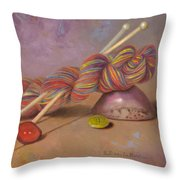 Koigu Yarn With Buttons Throw Pillow