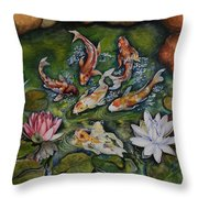 Kois In A Pond Throw Pillow